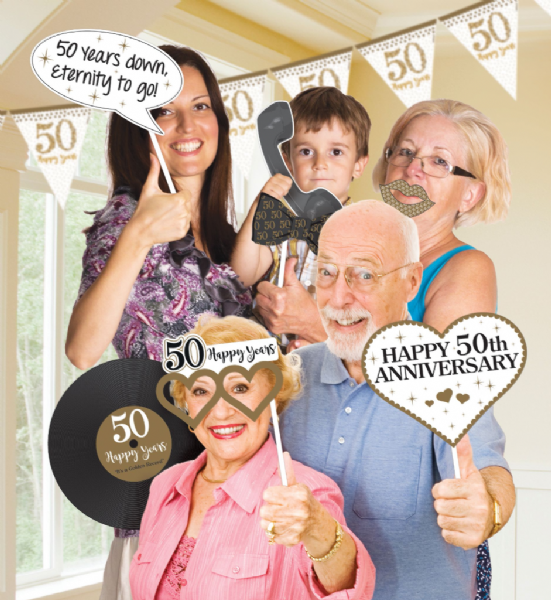 Sparkling Golden Anniversary Photo Prop Kit